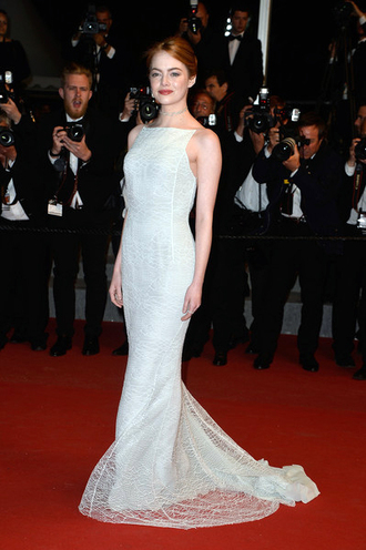 jacket gown dress cannes prom dress wedding dress emma stone red carpet dress celebrities in white