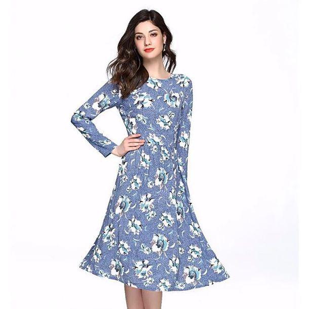 71088a29e9 dress modest dress floral floral dress a-line a line dress long sleeve dress  knee