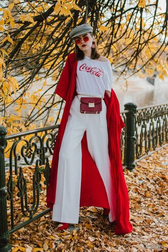 pants tumblr white pants wide-leg pants t-shirt white t-shirt coat red coat long coat duster coat sunglasses red sunglasses fisherman cap