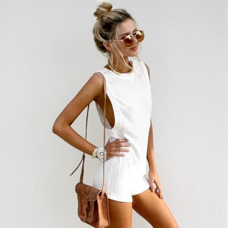 romper white romper sunglasses white sleeveless all white everything summer summer outfits jumpsuit tumblr dress cute bag shoulder bag brown bag mirrored sunglasses gold sunglasses bracelets