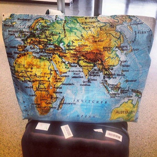 Tote bag blue cotton world map atlas fabric by allthetrimmingsuk gumiabroncs Image collections