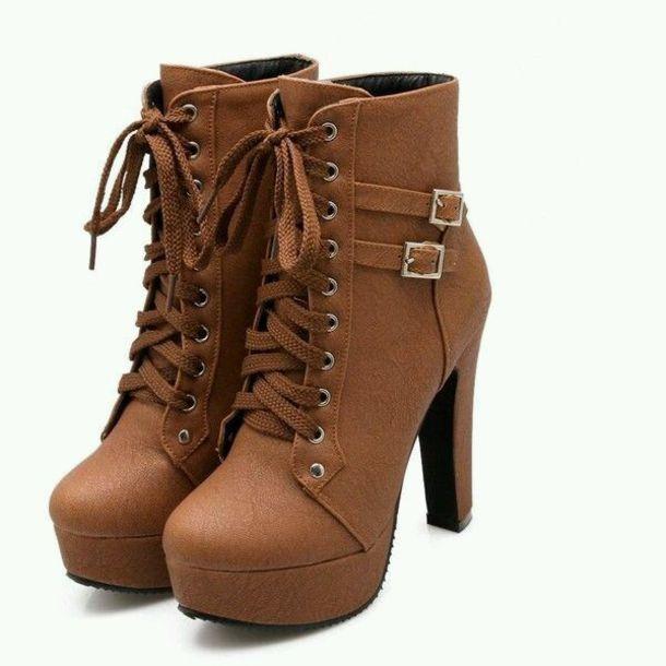 Brown heel boots women