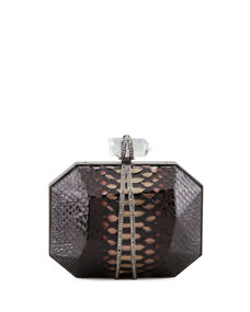 Marchesa iris python box clutch bag, multi
