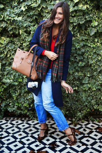 fashion foie gras blogger jeans tartan scarf leopard print high heels leather bag red sweater
