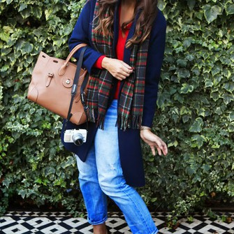 scarf sweater jeans bag shoes blogger tartan sweater fashion foie gras leopard print high heels leather bag scarf red