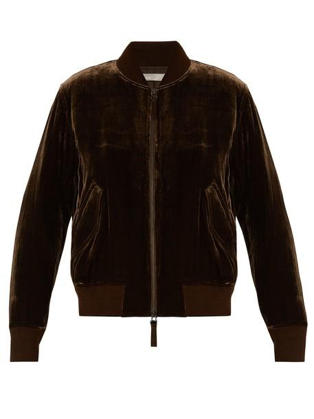 Vince jacket bomber jacket zip velvet brown
