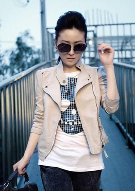 jacket beige leather zip zip short coat clothes winter outfits glasses korean fashion lady jacket