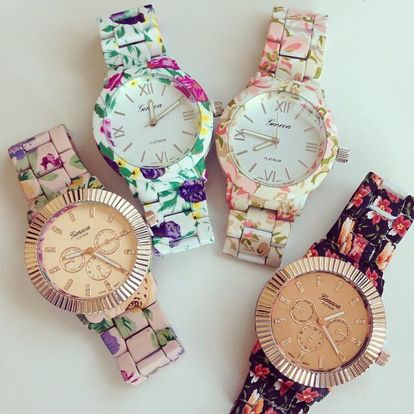 jewels floral watch watch bloom flower watch jewelry bracelets green yellow