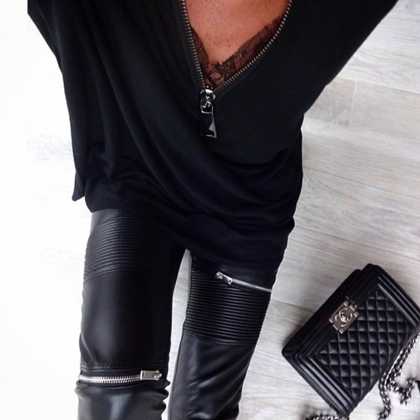 t-shirt pants jeans classy black lace leather