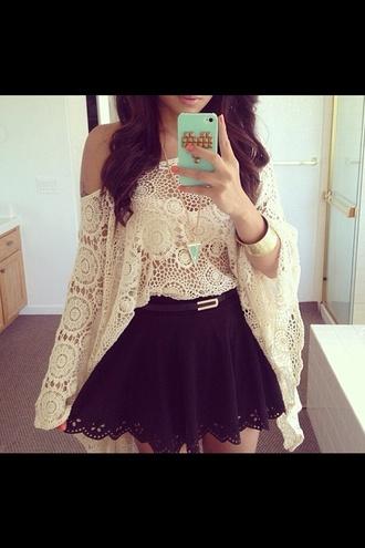 skirt sweater blouse crochet lace top blue skirt