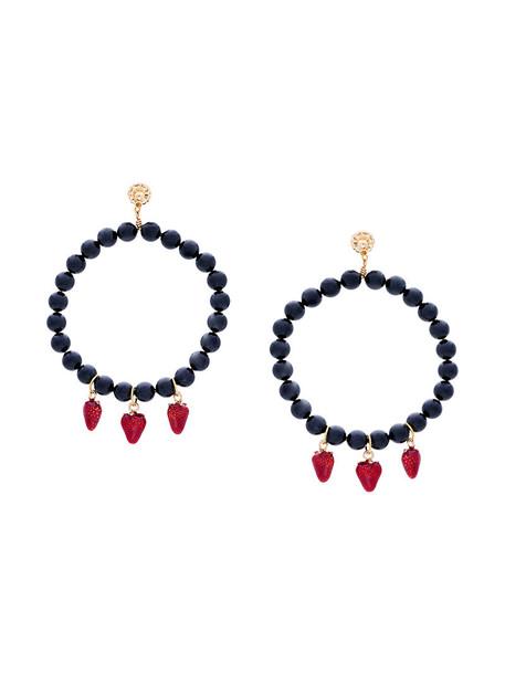 Venessa Arizaga women beaded earrings black strawberry jewels