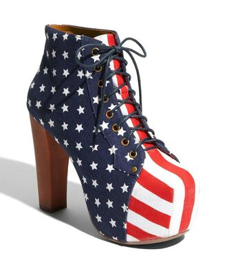 shoes wedges american flag red white blue