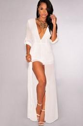 romper,v neck,wots-hot-right-now,white,chiffon,plunge v neck,cleavage,white dress