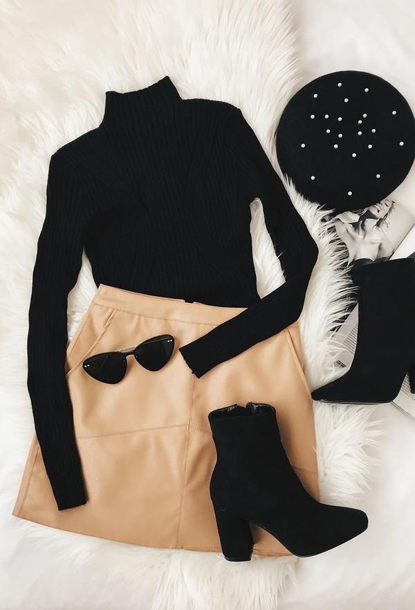 skirt a-line short skirt camel beige brown leather sweater