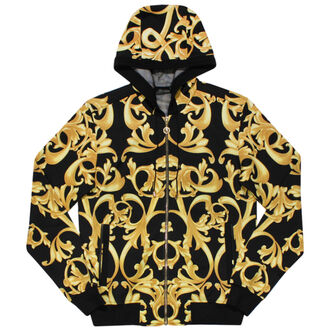 sweater knockoff versace baroque gold black hoodie hip hop soulja boy