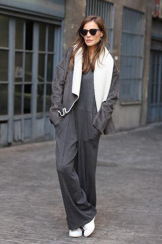 lady addict blogger jumpsuit coat bag onesie charcoal shoes sunglasses jewels
