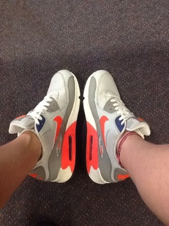 grey shoes orange fluro air max air max 90 menss women's shoe