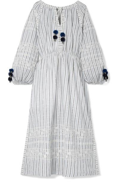 LoveShackFancy dress midi dress embroidered midi white cotton
