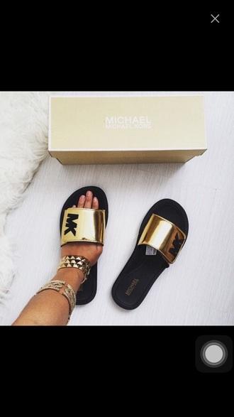 shoes michael kors gold black mk sandals michael kors shoes slide shoes