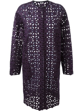 coat women cotton purple pink crochet