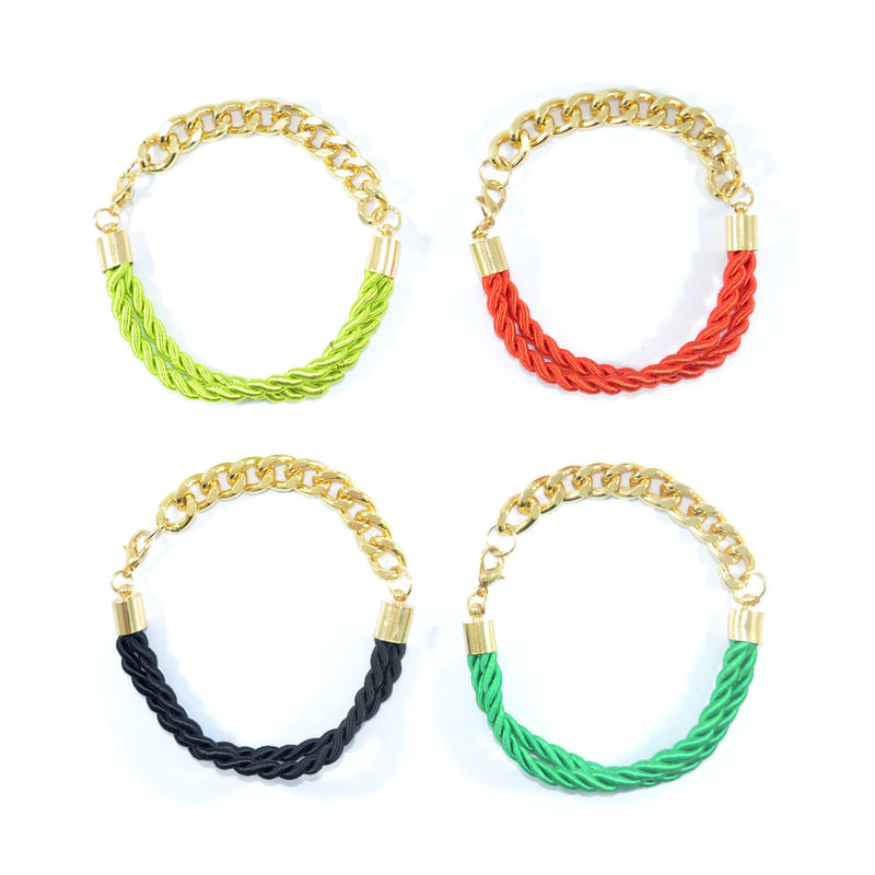 WOVEN STRAP AND CHAIN BRACELET - Rings & Tings | Online fashion store | Shop the latest trends