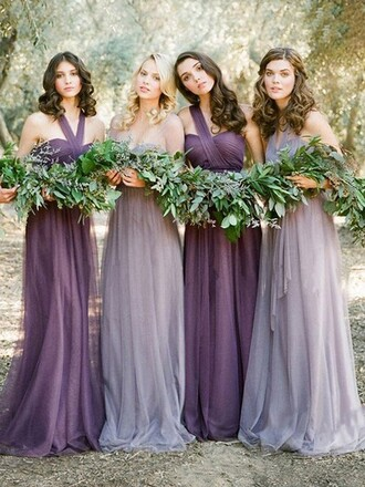 dress bridesmaid grey purple halter neck asymmetrical one shoulder illusion floor length fashion style stylish elegant halloween costume