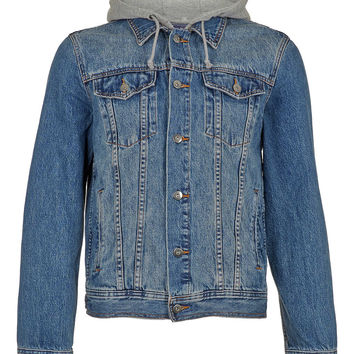 MID WASH HOODED DENIM JACKET - Men's Jackets & Coats - Clothing - TOPMAN USA on Wanelo