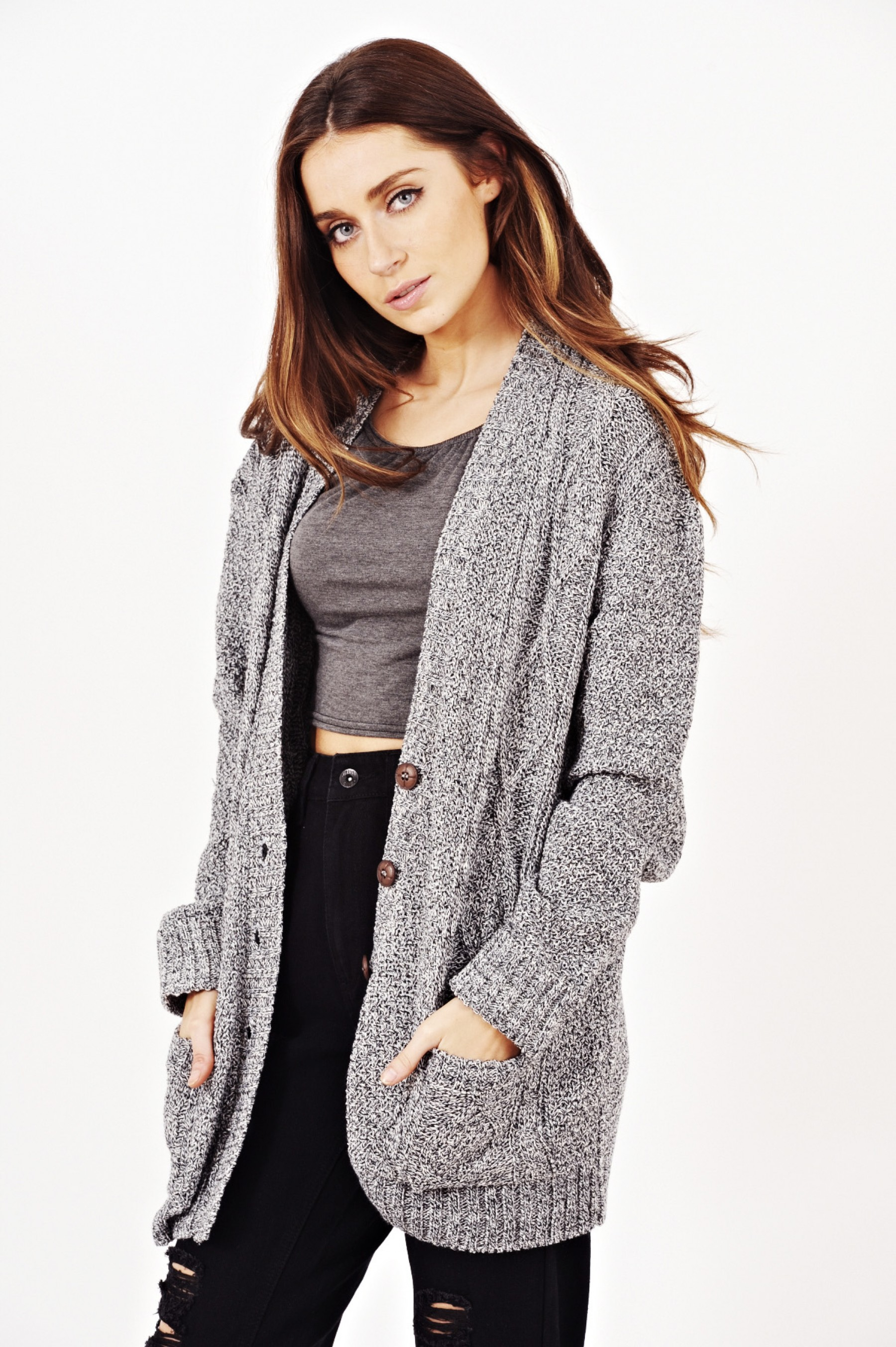 Oversized Granddad Cardigan In Charcoal Grey | Shelikes