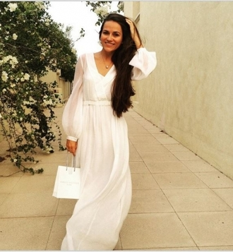 dress maxi dress white chiffon