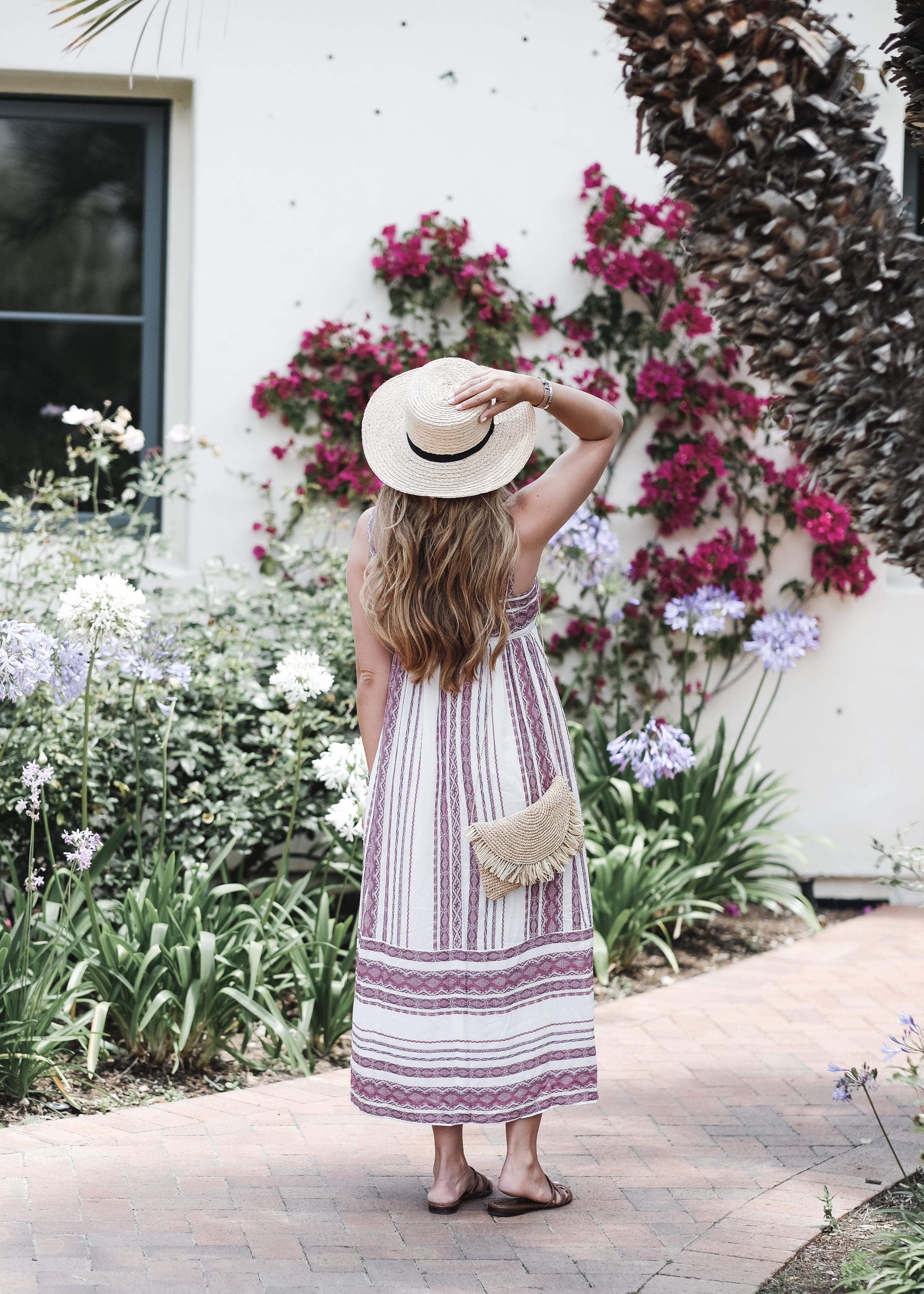 Summer Essentials: A Striped Midi Dress   Straw Hat | The Teacher Diva: a Dallas Fashion Blog featuring Beauty & Lifestyle