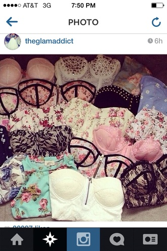 shirt bustier lace lace bustier white lace bustier black lace bustier floral crop tops pink laces studs spikes runaway dreamz