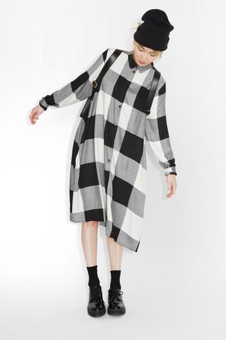 dress shirt dress plaid monki black and white dress