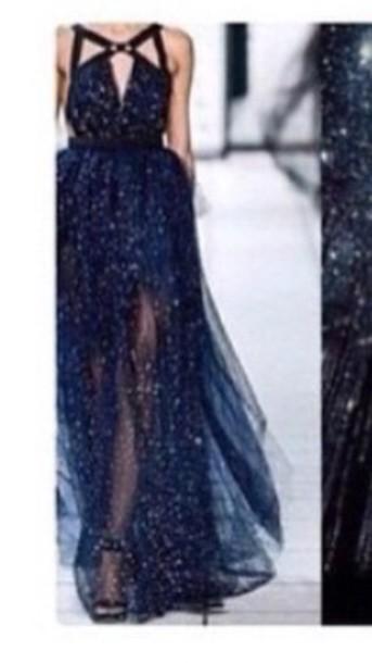 dress prom dress elie saab prom gown blue dress night sky prom dress dress