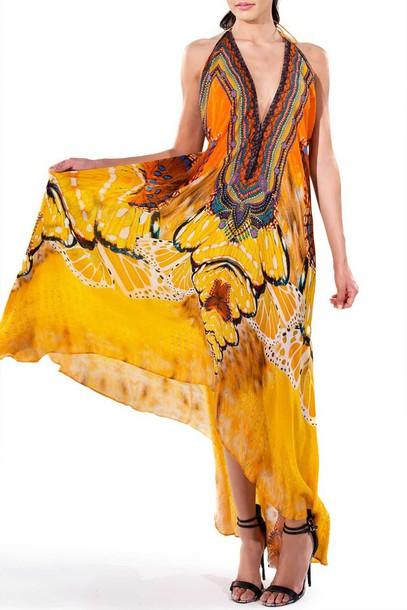 dress parides print yellow summer dress bikiniluxe