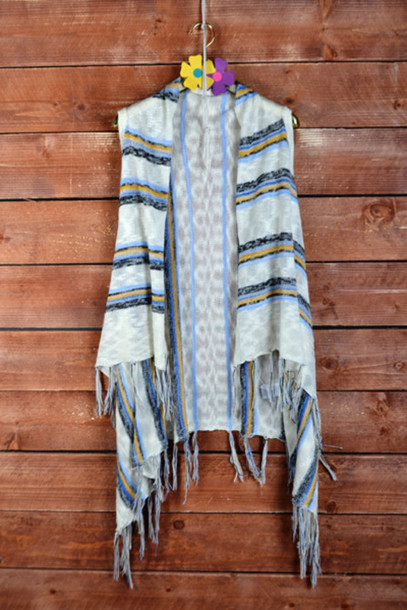 cardigan fringe vest boho chic striped fringe sweater vest