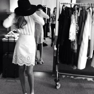 dress white dress lace lace dress crochet white crochet long sleeve dress