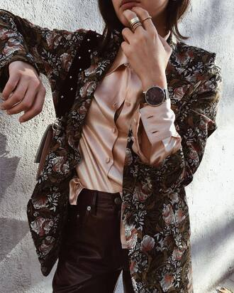 tumblr silk shirt silk nude shirt jacket floral floral jacket leather pants black watch watch ring gold ring gold jewelry jewels jewelry blush pink satin shirt work outfits office outfits printed jacket