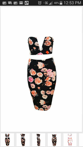 deep v strapless 2-piece pencil skirt bodycon bustier midi crop floral red lime sunday