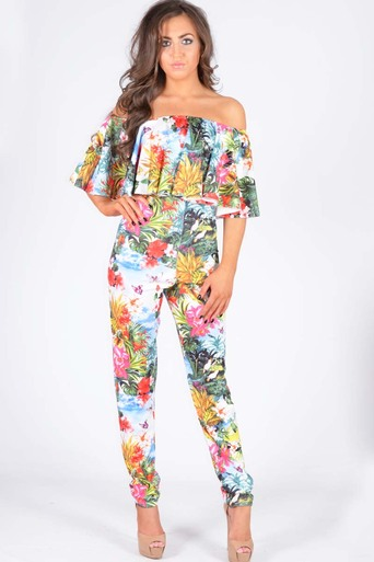 Gifford Off The Shoulder Tropical Print Ruffle Jumpsuit - Pop Couture