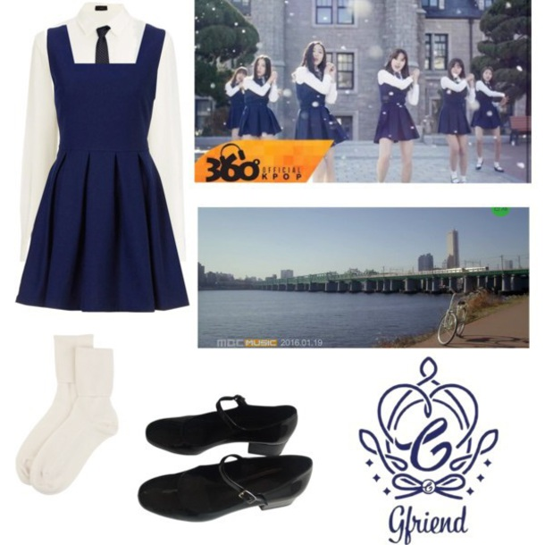 dress white dress white white and navy white and navy blue striped skater skirt kawaii gfriend eunha black black shoes black & white socks gfriend K-pop