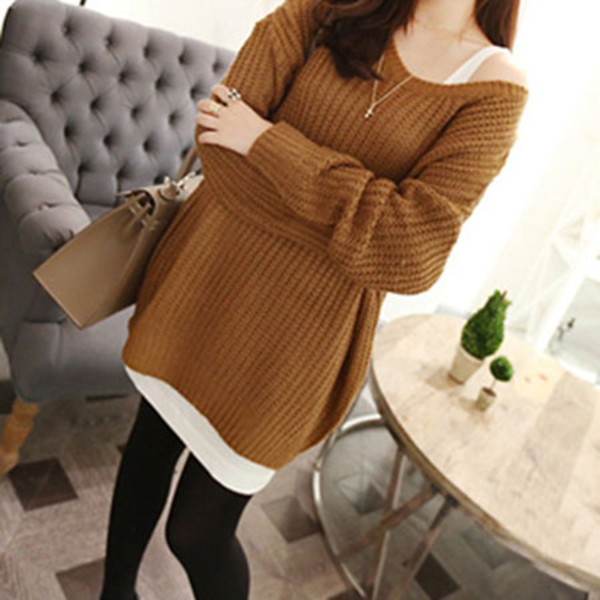 sweater leisure pure color long