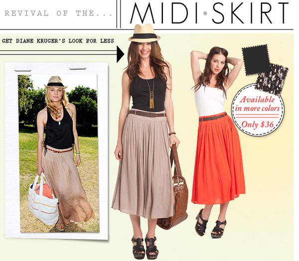 Skirt: midi skirt, diane kruger, brown skirt - Wheretoget