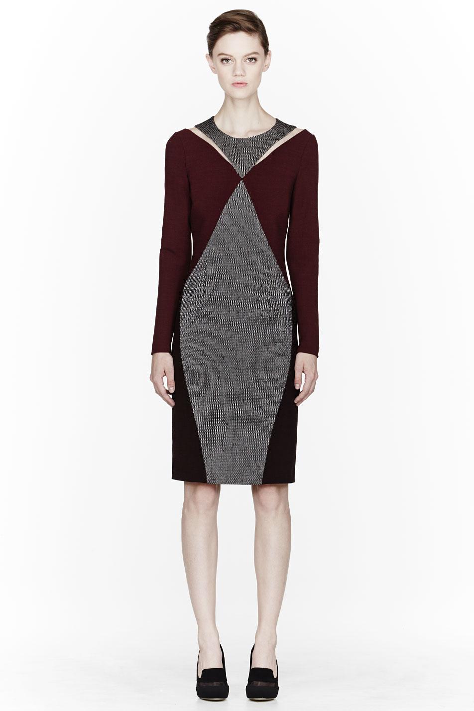 Stella Mccartney Purple Tweed Melange Stretch Dress