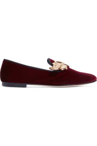 embellished loafers velvet burgundy shoes