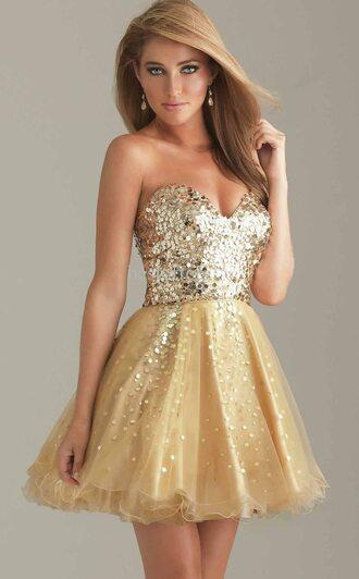 dress prom dress glitter dress gold glitter