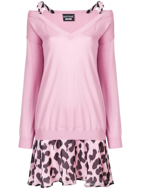 BOUTIQUE MOSCHINO dress print dress leopard print dress women layered cotton print silk purple pink leopard print
