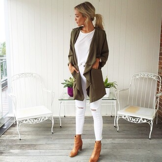 jacket autumn coat autumn military coat military style military green white jeans white crop tops muraboutique coat