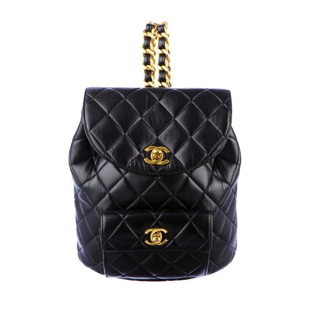a8d9874cabdc Chanel Leather Backpack Black Quilted Shoulder Bag Graffiti Boy Gold Chain  | eBay
