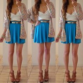 jacket,cardigan,sweater,skirt,blue,white,gold,belt,necklace,heels,shoes,pumps,brown,crop tops,bustier,bralette,cross over,top,skater skirt,circle skirt,tank top,shirt