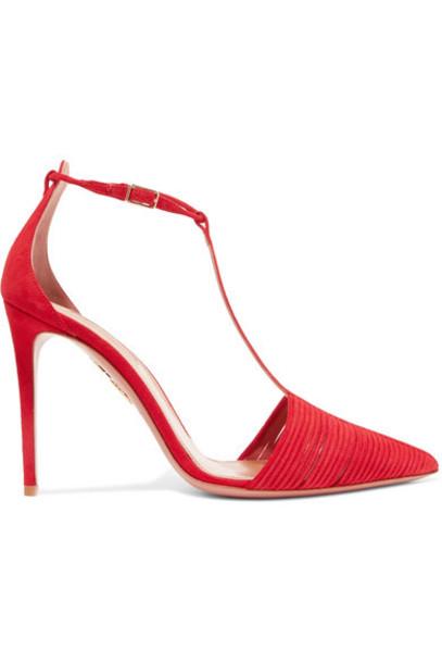 Aquazzura - Ritz Suede Pumps - Red